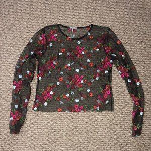 Flower mesh top
